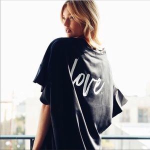 "Victoria Secret Satin Black ""Love"" Robe"